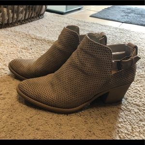 Tan booties with cute buckle detail